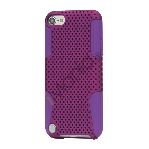 Perforeret Ventileret Plastic  and  Silikone Hybrid Taske til iPod Touch 5 - Purple