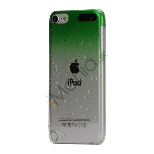 Image of   Cover med gradvist farveskift og regndråber Hard Case til iPod Touch 5 - Grøn