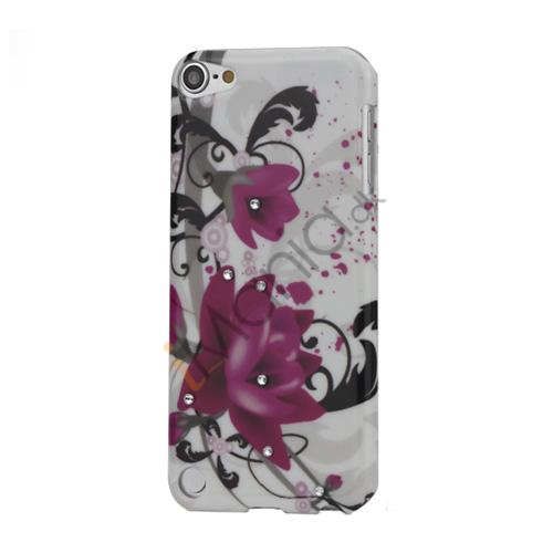 Røde blomster Diamant Smooth hård plast tilfældet til iPod Touch 5