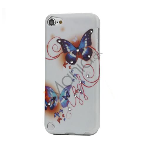 Smukke sommerfugl Diamant Smooth hård plast tilfældet til iPod Touch 5