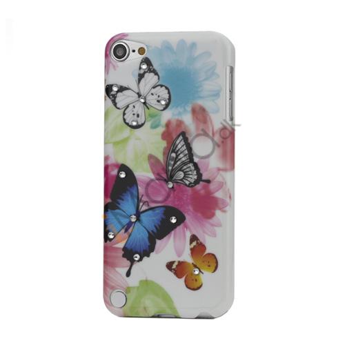 Blomster og Sommerfugl Diamant Smooth hård plast taske til iPod Touch 5