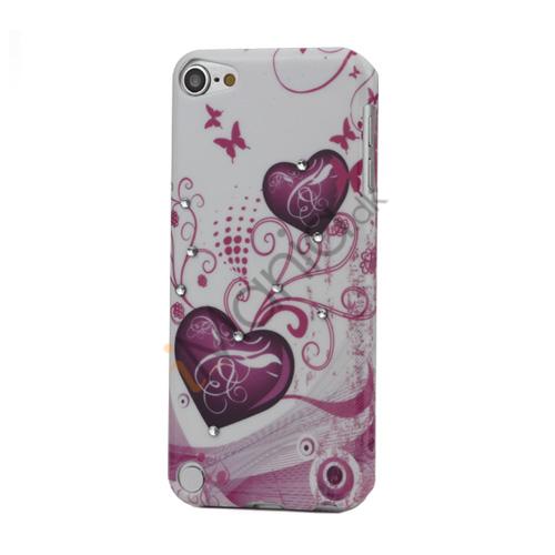 Lilla to hjerter og Sommerfugl Diamant Smooth hårdt etui til iPod Touch 5