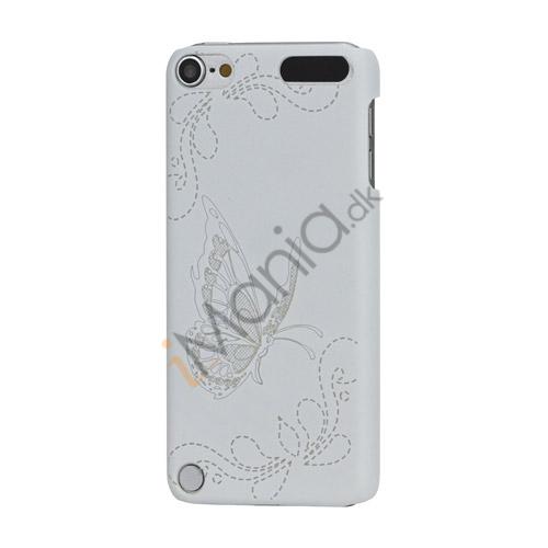 Lasergraveret Sommerfugl Hard Back Case til iPod Touch 5 - Hvid