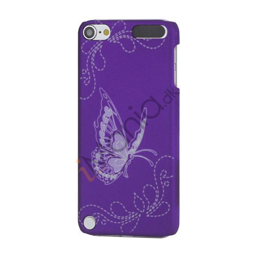 Lasergraveret Sommerfugl Hard Back Case til iPod Touch 5 - Purple