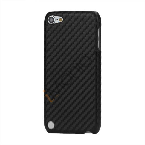 Vævet mønster Carbon Fiber Læder Coated Hard Case til iPod Touch 5 - Sort
