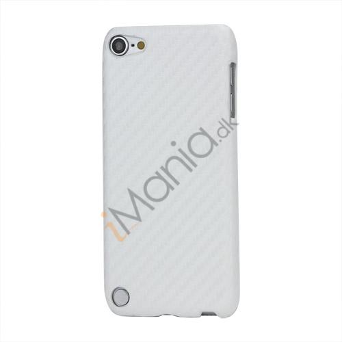 Vævet mønster Carbon Fiber Læder Coated Hard Case til iPod Touch 5 - Hvid