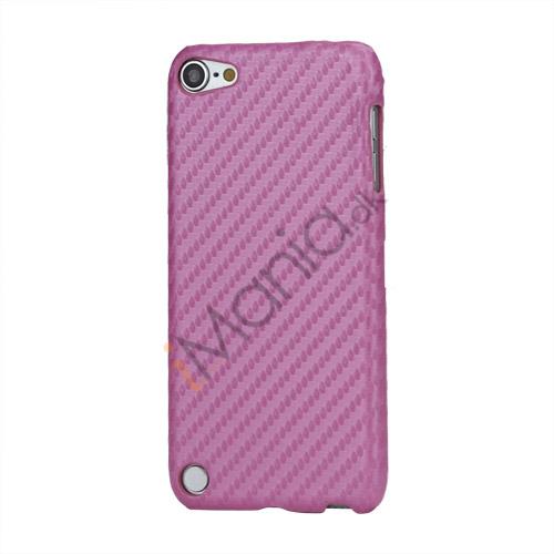 Vævet mønster Carbon Fiber Læder Coated Hard Case til iPod Touch 5 - Pink