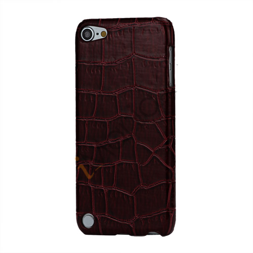 Image of   Crocodile Læder Skin Beskyttende Hard Case til iPod Touch 5 - Wine Rødt