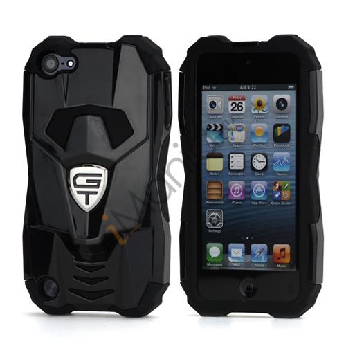 Ny Cool 3D Sportsvogn Silicone + indbundet Hybrid Case til iPod Touch 5 - Sort