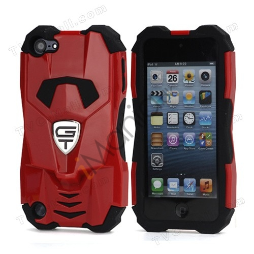 Ny Cool 3D Sportsvogn Silicone + indbundet Hybrid Case til iPod Touch 5 - Sort / Rød