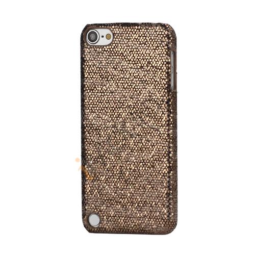 Stilfuld Blinkende Pailletter Zebra Striber Hard Case til iPod Touch 5 - Dark Brown