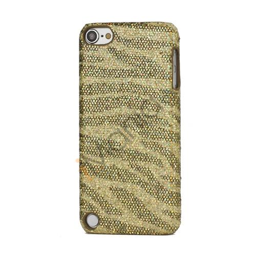 Stilfuld Blinkende Pailletter Zebra Striber Hard Case til iPod Touch 5 - Gul