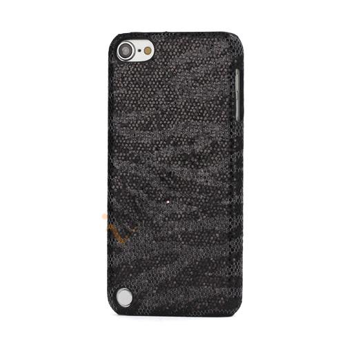 Stilfuld Blinkende Pailletter Zebra Striber Hard Case til iPod Touch 5 - Sort