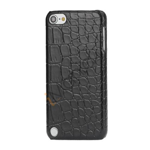 Moderigtigt Blankt Crocodile Læder Skin Hard Case til iPod Touch 5 - Sort