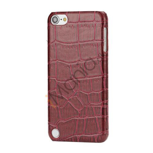 Moderigtigt Blankt Crocodile Læder Skin Hard Case til iPod Touch 5 - Wine Rødt