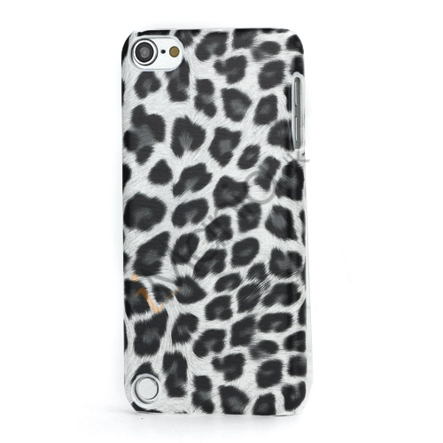Leopard mønstret PU læder belagt Hard Case til iPod Touch 5 - Hvid / Grå