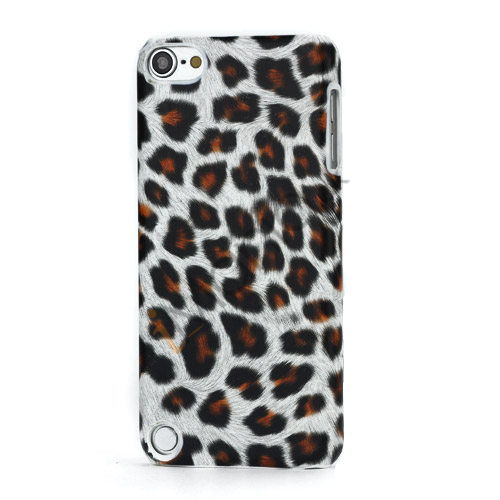 Leopard mønstret PU læder belagt Hard Case til iPod Touch 5 - Hvid / Brun