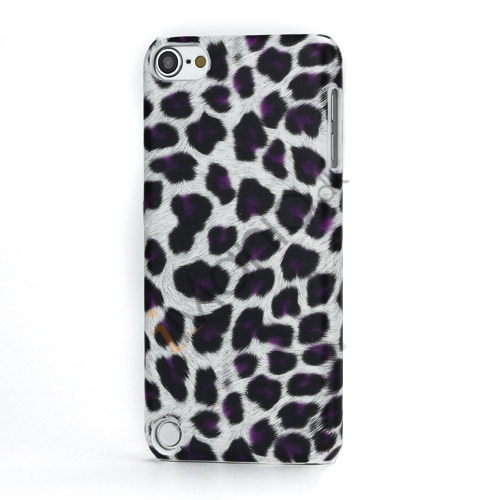 Leopard mønstret PU læder belagt Hard Case til iPod Touch 5 - Hvid / Lilla