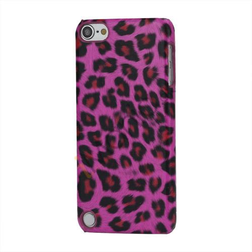 Leopard mønstret PU læder belagt Hard Case til iPod Touch 5 - Rose