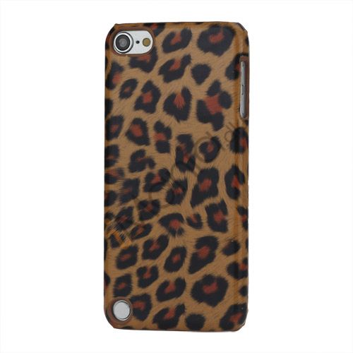 Leopard mønstret PU læder belagt Hard Case til iPod Touch 5 - Brown