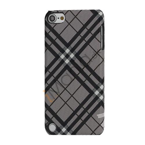 Stilfuld Plaid Mønster Læder Skin Hard Case til iPod Touch 5 - Sort