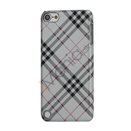 Stilfuld Plaid Mønster Læder Skin Hard Case til iPod Touch 5 - Lysegrå