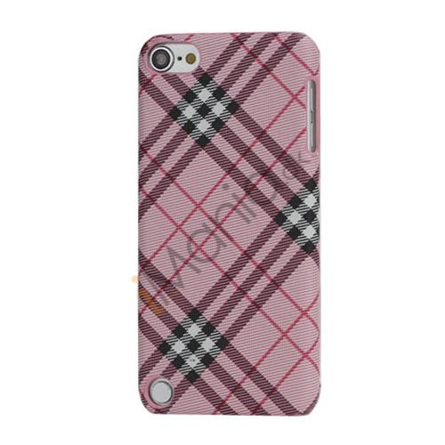 Stilfuld Plaid Mønster Læder Skin Hard Case til iPod Touch 5 - Pink