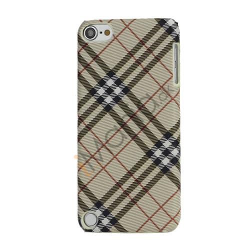 Stilfuld Plaid Mønster Læder Skin Hard Case til iPod Touch 5 - Beige