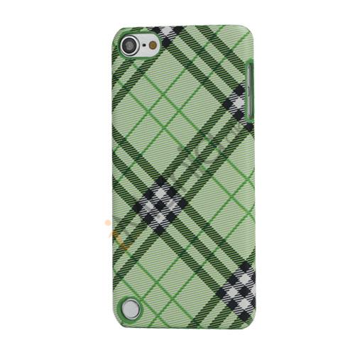 Stilfuld Plaid Mønster Læder Skin Hard Case til iPod Touch 5 - Grøn