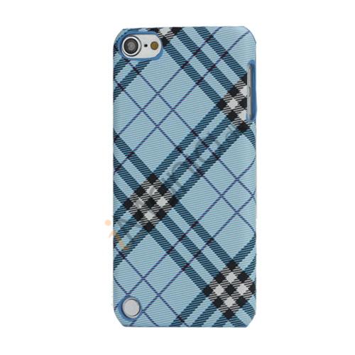 Stilfuld Plaid Mønster Læder Skin Hard Case til iPod Touch 5 - Blå