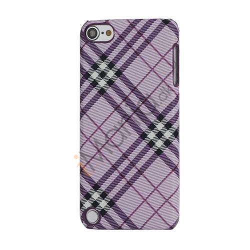 Stilfuld Plaid Mønster Læder Skin Hard Case til iPod Touch 5 - Purple