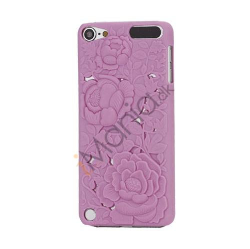 Image of   3D Præget Hult Smukke Blomster Hard Back Skin Case til iPod Touch 5 - Pink