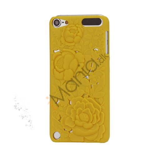 Image of   3D Præget Hult Smukke Blomster Hard Back Skin Case til iPod Touch 5 - Gul