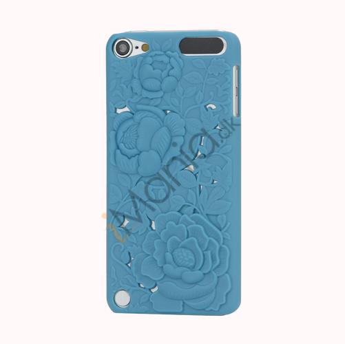 Image of   3D Præget Hult Smukke Blomster Hard Back Skin Case til iPod Touch 5 - Blå