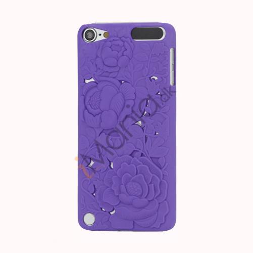 Image of   3D Præget Hult Smukke Blomster Hard Back Skin Case til iPod Touch 5 - Purple