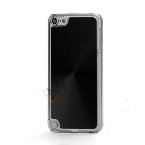Metallic CD Mønster Transparent Kant Hard Case Cover Skin til iPod Touch 5 - Sort