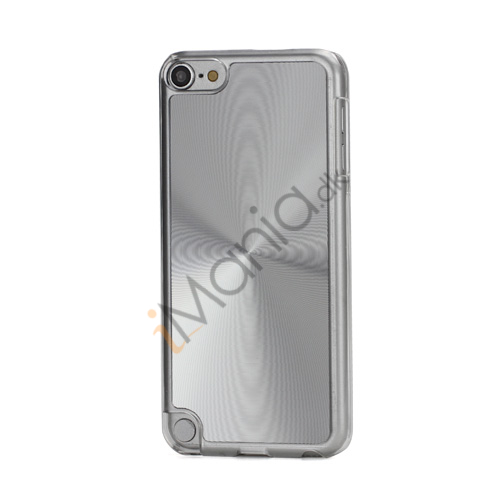 Metallic CD Mønster Transparent Kant Hard Case Cover Skin til iPod Touch 5 - Sølv