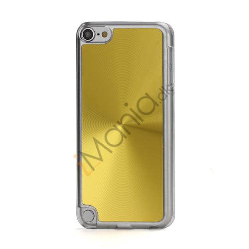 Metallic CD Mønster Transparent Kant Hard Case Cover Skin til iPod Touch 5 - Guld