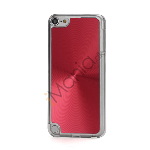 Metallic CD Mønster Transparent Kant Hard Case Cover Skin til iPod Touch 5 - Rød