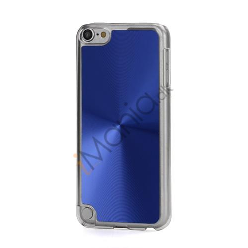 Metallic CD Mønster Transparent Kant Hard Case Cover Skin til iPod Touch 5 - Mørkeblå