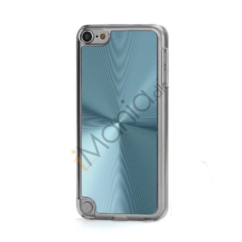 Metallic CD Mønster Transparent Kant Hard Case Cover Skin til iPod Touch 5 - Lyseblå