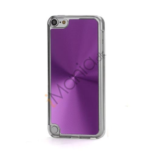 Metallic CD Mønster Transparent Kant Hard Case Cover Skin til iPod Touch 5 - Purple