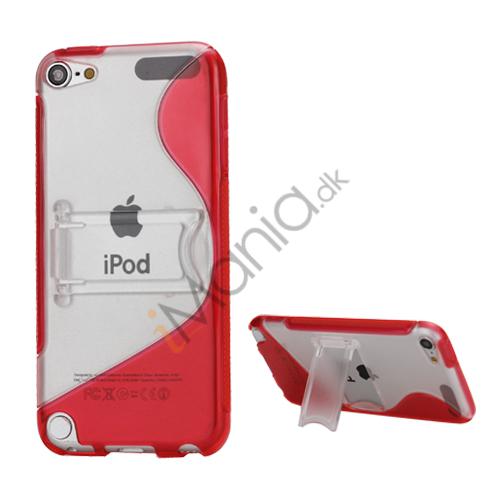 S-formet Holder Flex TPU Frame Hard Back Skin Case til iPod Touch 5 - Rød