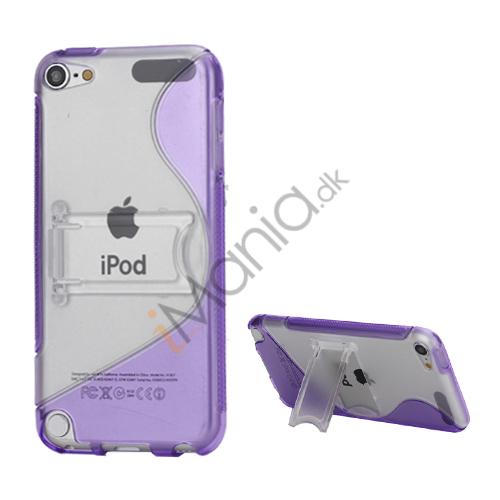 S-formet Holder Flex TPU Frame Hard Back Skin Case til iPod Touch 5 - Purple