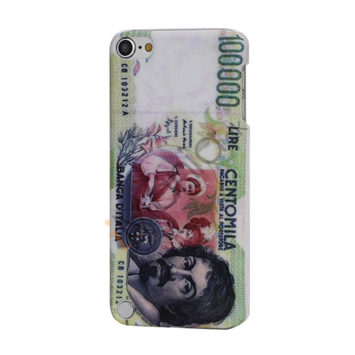 Vintage italiensk Pengeseddel 100.000 Centomila Lire Banca dItalia hård plast tilfældet til iPod Touch 5