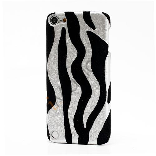 Stilfuld Zebra Skin Læderbelagt hård plast Case Cover til iPod Touch 5 - Sølv