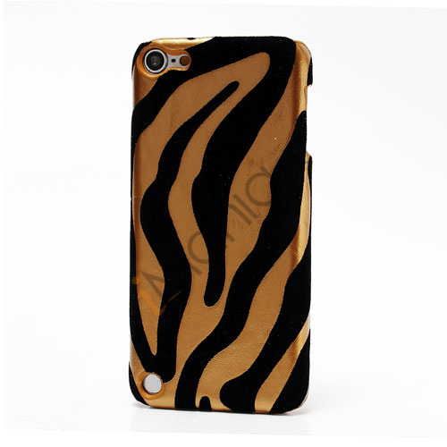 Stilfuld Zebra Skin Læderbelagt hård plast Case Cover til iPod Touch 5 - Guld
