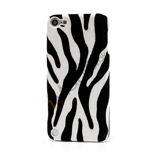 Stilfuld Zebra Skin Læderbelagt hård plast Case Cover til iPod Touch 5 - Hvid