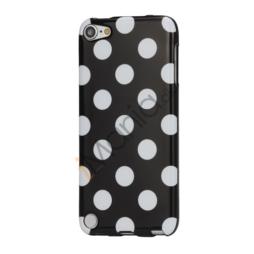Skinnende Polkaprikket TPU Gel Cover til iPod Touch 5 - Hvid / Sort