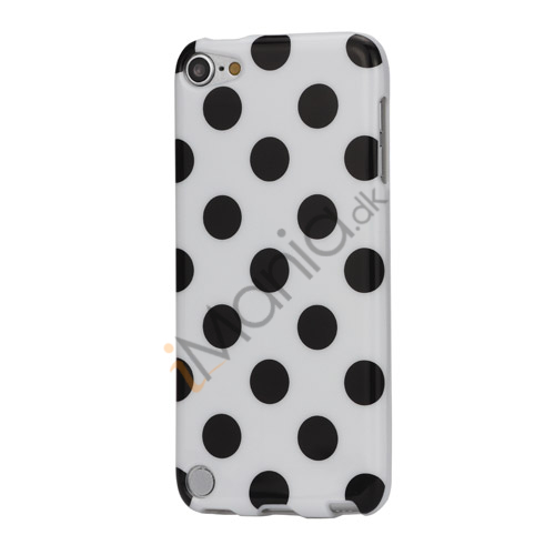 Skinnende Polkaprikket TPU Gel Cover til iPod Touch 5 - Sort / Hvid